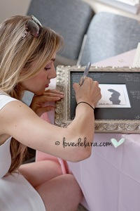 Frame with silhouette photo for guests to sign - Cute as a button theme